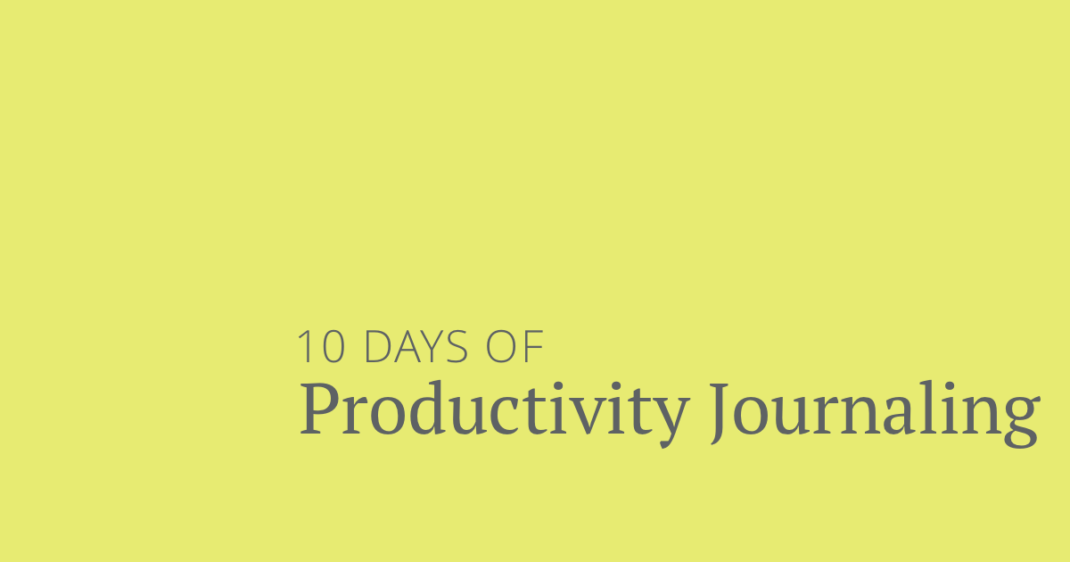 Productivity journaling